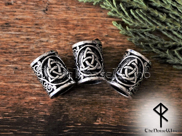 Celtic Knot Beard Beads, Solid Viking Hair Beads, Triquetra TheNorseWind