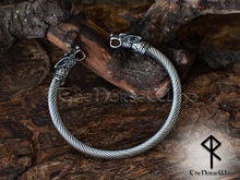 Load image into Gallery viewer, Viking Bracelet Fenrir Wolf Men's Bangle Silver Solid Bjorn Torque TheNorseWind