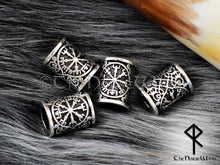 Load image into Gallery viewer, Vegvisir Beard Beads, Viking Compass Hair Rings TheNorseWind