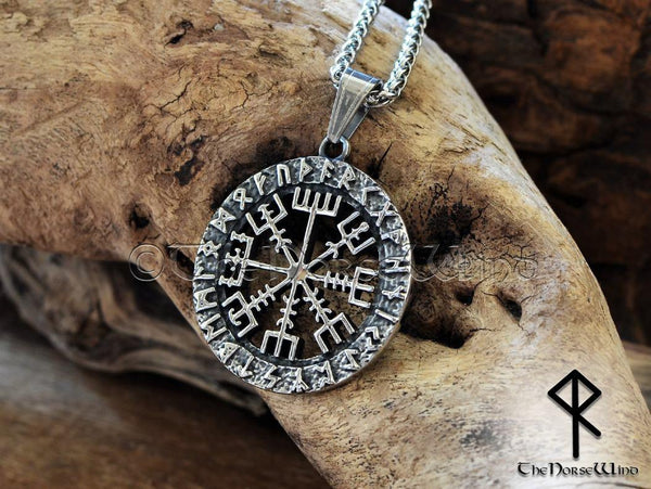 Vegvisir Necklace Viking Compass Steel Runes Pendant - TheNorseWind
