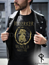 Load image into Gallery viewer, Berserker Viking T-Shirt < Valhalla Awaits Me > Celtic Dragon Tee - TheNorseWind