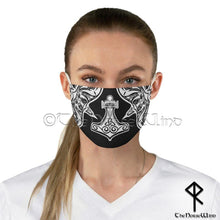 Load image into Gallery viewer, Mjolnir Face Mask, Thor's Hammer Viking Face Cover Huginn and Muninn Ravens Washable / Reusable in Black - TheNorseWind