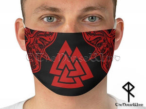 Valknut Viking Face Mask, Norse Warriors Reusable Fabric Face Cover with Odin's Ravens