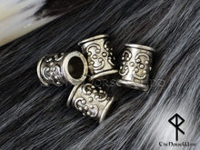 Load image into Gallery viewer, Celtic Beard Beads Silver Hair Rings TheNorseWind
