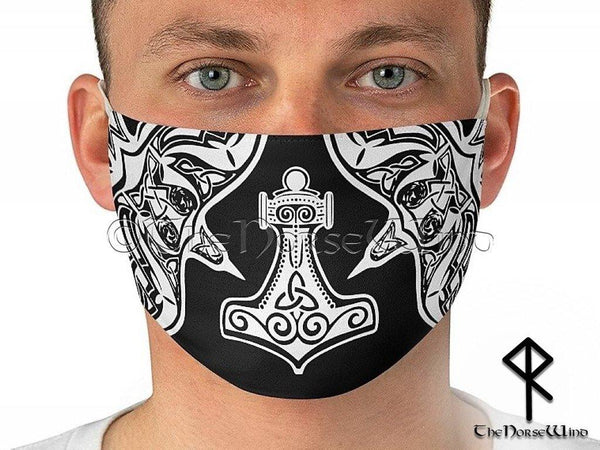 Mjolnir Face Mask, Thor's Hammer Viking Face Cover Huginn and Muninn Ravens Washable / Reusable in Black