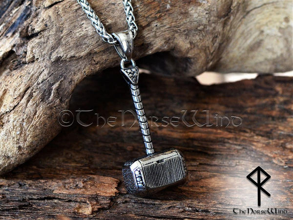 Thor's Hammer / Mjolnir Viking Necklace - Stainless Steel Pendant - TheNorseWind