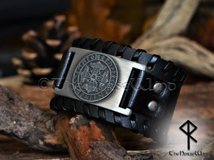 Viking Mjolnir Leather Bracelet - Silver Thor's Hammer Black Wristband - TheNorseWind