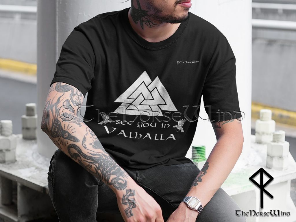 Vikings T-Shirt Valknut - See You In Valhalla Tee Unisex S-5XL / Black Print - TheNorseWind