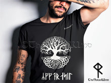 Load image into Gallery viewer, Yggdrasil Viking T-Shirt, Celtic Tree of Life Runes Tee S-5XL