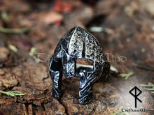 Load image into Gallery viewer, Viking Helmet Ring, Norse Warrior's Antique Silver Men Ring - TheNorseWind