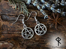 Load image into Gallery viewer, Pentacle Earrings, Pentagram Witch Jewelry Wicca Earrings, Pagan Earrings, Tribal Earrings, Gothic Jewelry, Witchy Gift TheNorseWind