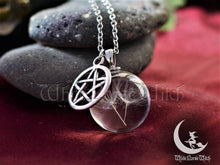 Load image into Gallery viewer, dandelion necklace glass wish pendant wicca jewelry pentagram