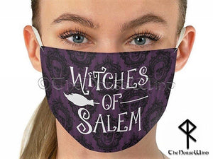 Witches of Salem Face Mask, Halloween Goth Wiccan Fabric Face Mask Deep Purple with Skulls - TheNorseWind