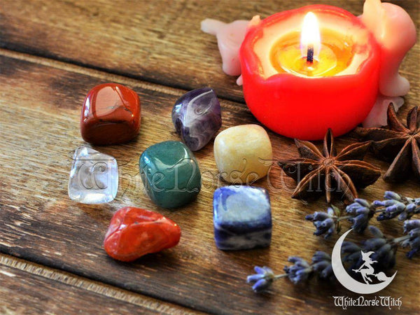 Wicca Crystals Starter Kit, 7 Chakra Stones Witchcraft Set - TheNorseWind
