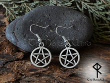 Load image into Gallery viewer, Pentagram Earrings, Witches hoop earrings silver Wicca TheNorseWind