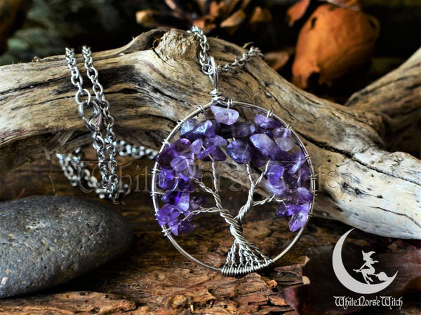Tree of Life Amethyst Necklace Yggdrasil Viking Pendant - TheNorseWind