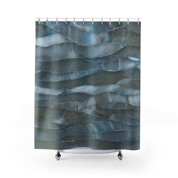 Blue Quartz Mineral Stone Shower Curtain - Shopoya