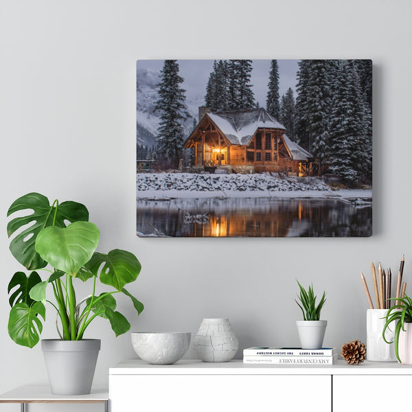 Snowy Cabin Canvas Print - Shopoya