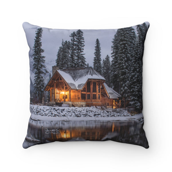 Snowy Cabin Throw Pillow - Shopoya
