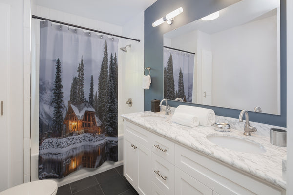 Snowy Cabin Shower Curtain - Shopoya