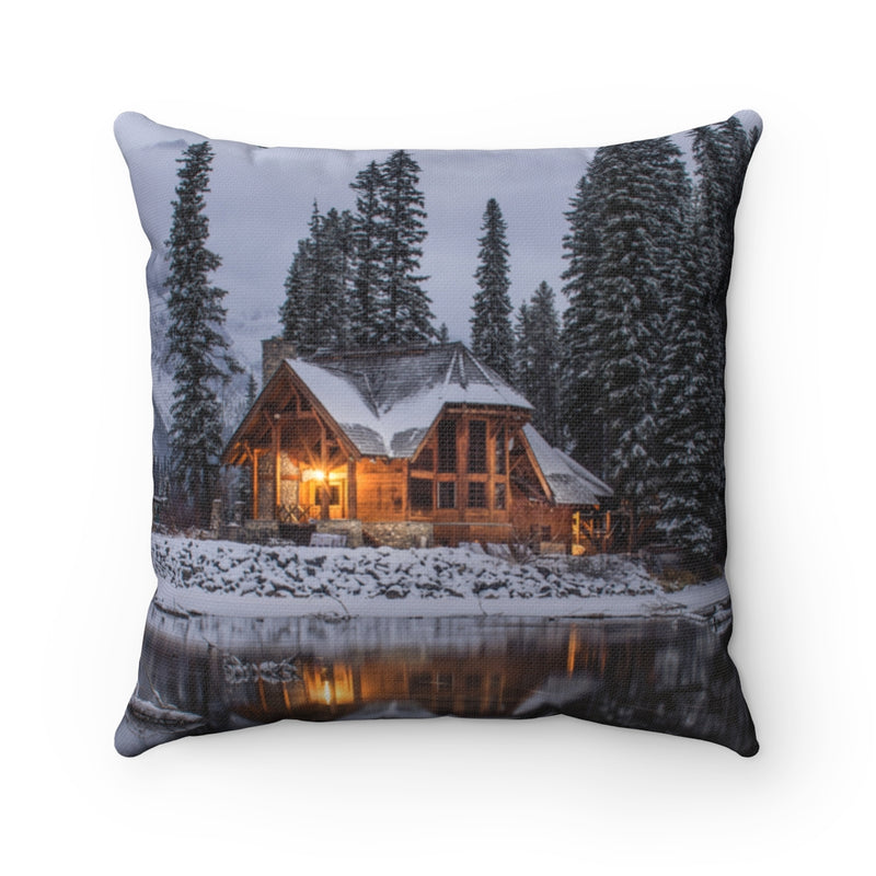 Snowy Cabin Pillow Case - Shopoya
