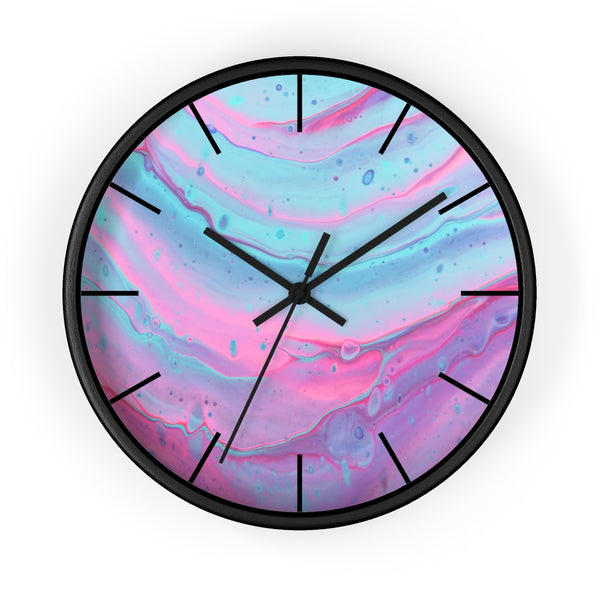 Pink and Blue Swirls Wall clock - Shopoya
