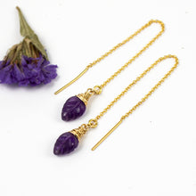 Load image into Gallery viewer, Amethyst Leaf Threader Earrings