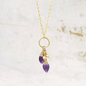 Amethyst Leaves Necklace