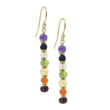 Load image into Gallery viewer, Chakra Gemstone Gold Drop Earrings