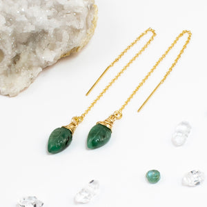Emerald Leaf Threader Earrings