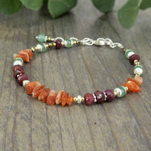 Load image into Gallery viewer, Confidence boosting healing crystal bracelet with sunstone, ruby, pyrite, green aventurine and sterling silver