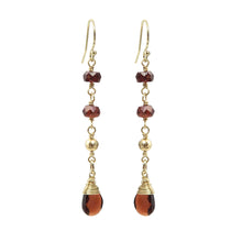Load image into Gallery viewer, Garnet Gold Drop Earrings