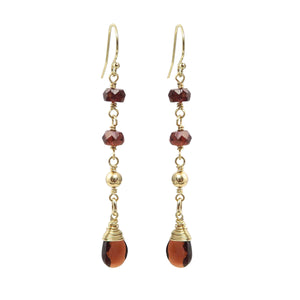 Garnet Gold Drop Earrings