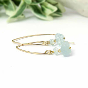 NATURAL AQUAMARINE NUGGET EARRINGS