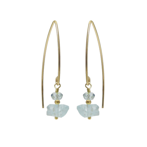 Raw aquamarine gemstone earrings