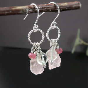 Tea Rose Earrings with Rose Quartz, Pink Sapphire & Green Amethyst