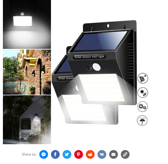 Solar Power 20 LED PIR Motion Sensor Wall Light Waterproof Outdoor.
