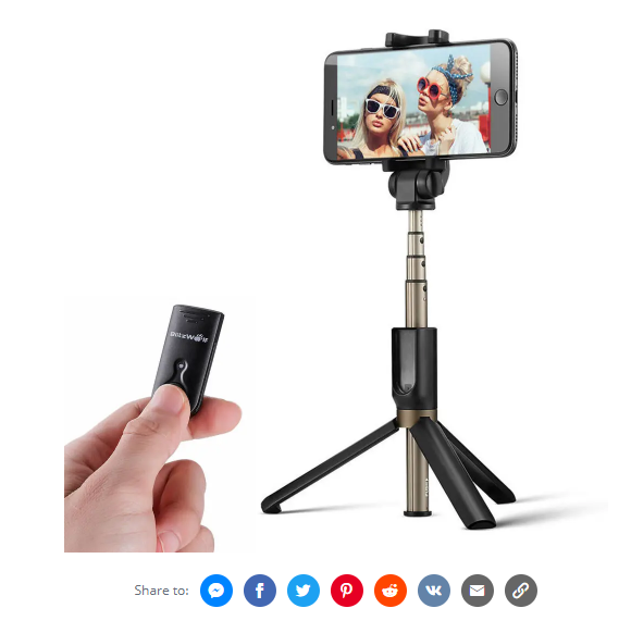 BlitzWolf BW-BS3 Versatile 3 in 1 bluetooth Tripod Selfie Sticks for iphone 8 and iphone X
