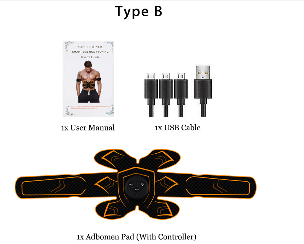 ABS Muscle Toner Stimulator  EMS USB Rechargeable Muscle Trainer Gear Abdominal Exercise Stimulater