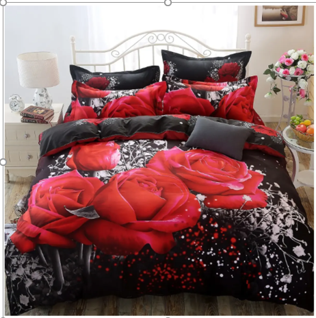 Soft Queen Cotton Duvet 3D Rose Bedding Sets.