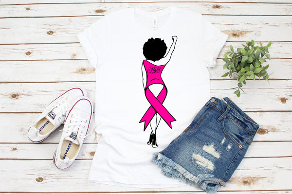 Survivor svg, FIGHT Pink Ribbon svg, FIGHT SVG African American africa png dxf eps jpeg png black, cancer svg, breast cancer svg, woman svg