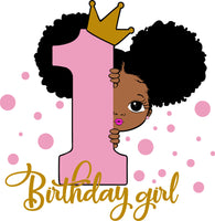 Peekaboo girl with puff afro ponytails svg, 1st Birthday SVG, First Birthday, 1st Birthday Girl, Birthday Princess Svg, Birthday Girl Svg