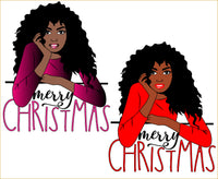Merry christmas, SVG PNG Kinky Natural Hair Afro Christmas Cutting File for Cricut, high heels, black Christmas