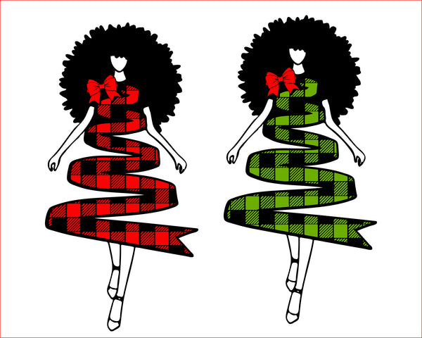 Woman Christmas tree plaid svg, buffalo plaid Black Woman Wearing Santa Hat SVG PNG Kinky Natural Hair Afro Christmas Cutting File for Cricut, Woman carring gift boxes, black Christmas
