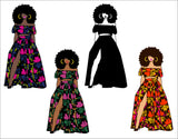 Woman Bundle svg, Black woman clipart avatar, Ankara multi-color, fashion graphics, sublimation boss afro, Multicolor African Fabric