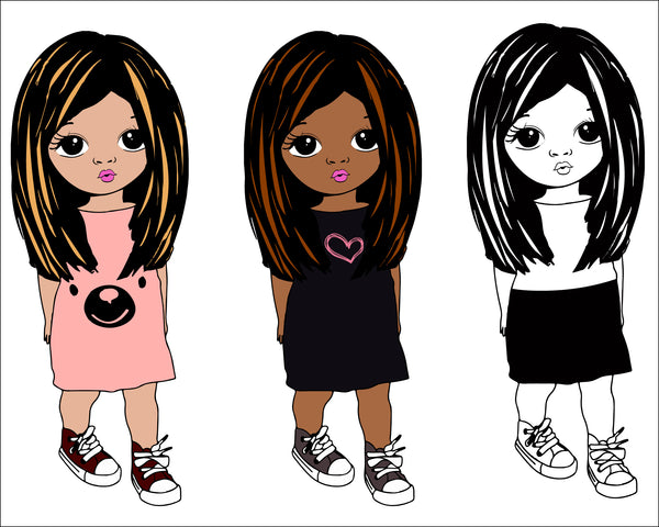 girl with straight hair svg, Cute black African American kids Svg Dxf Eps Png cut file for CricuT, African American clipart