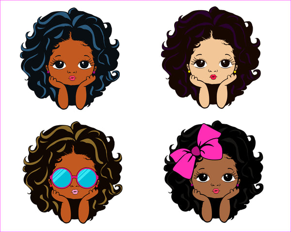 Peekaboo girl with puff afro ponytails svg, Cute black African American kids