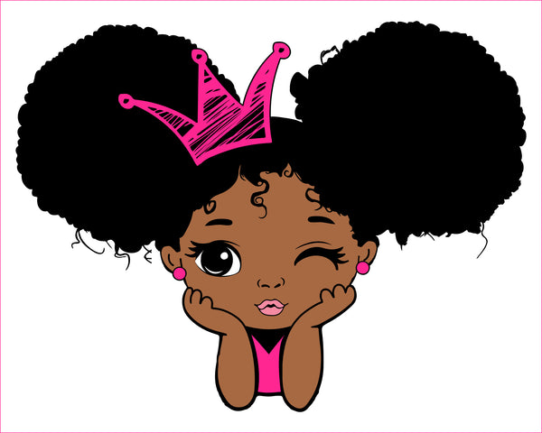 Peekaboo girl with puff afro ponytails svg, Cute black African American kids Svg Dxf Eps Png cut file for CricuT, African American clipart