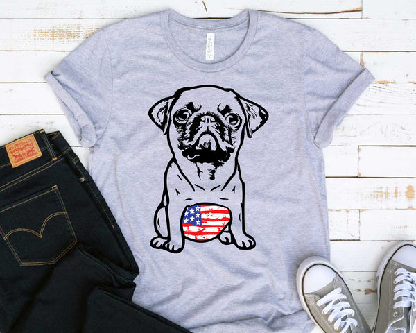 PUG whit tummy USA Flag with Feathers SVG mops sublimation merica patriotic Flag American 4th of July pugs belly dog face puppy 1775s