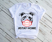 Pit bull Stay Home Quarantine mask svg dog face head Medical medicine nurse cricut, portrait Dog Bulldogs Germs puppy Pitbull